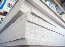 Stack of polystyrene foam sheets in stock