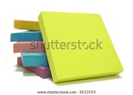 "Stack of ""post its"" isolated over white with a blank post it up front"