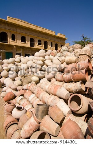 Stack of potteries waiting to be delivered - Jaisalmer, Rajasthan, India