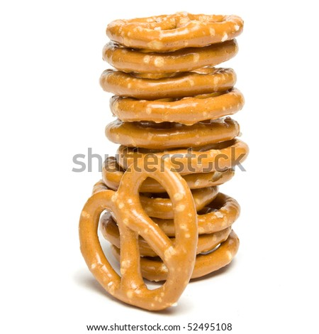 Stack of Pretzels tower isolated against white background.
