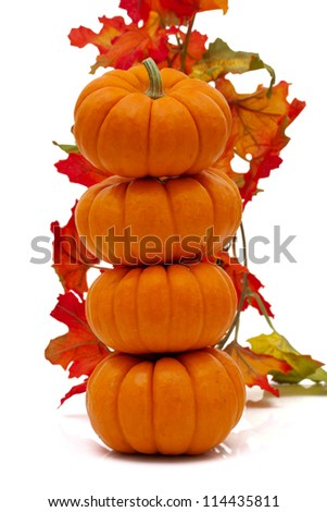Stack of pumpkins with fall leaves isolated on white