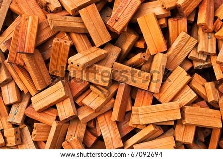 Stack of raw bricks texture