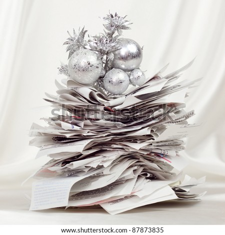 Stack of receipts form a festive holiday tree
