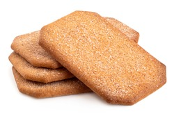 Stack of rectangular sugar coated cinnamon biscuits isolated on white.