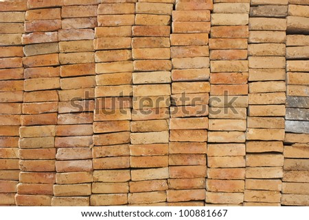 stack of red brick wall