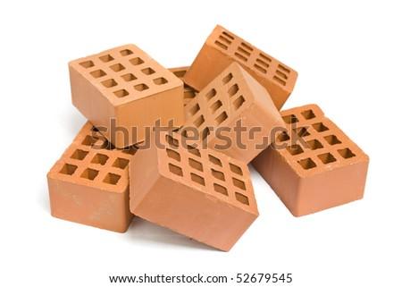 Stack of red bricks over white background