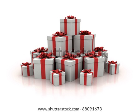 Stack of red gift boxes 3d render