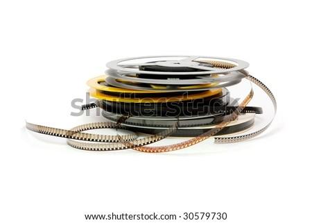Stack of reels of old quarter-inch amateur celluloid film