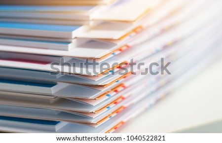 Stack of report paper documents for business desk, Business papers for Annual Reports files, Document is written,presented. Business offices concept, soft focus #1040522821