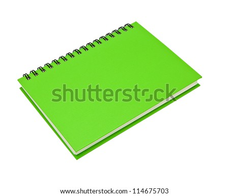 stack of ring binder book or green notebook isolated on white background