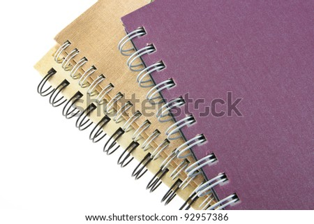 stack of ring binder book or notebook isolated