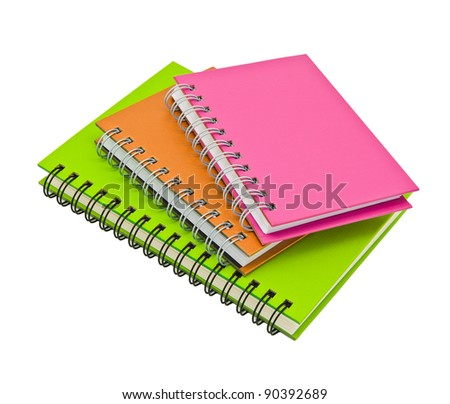 stack of ring binder book or notebook isolated on white background