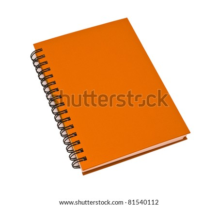 stack of ring binder book or orange notebook isolated on white background