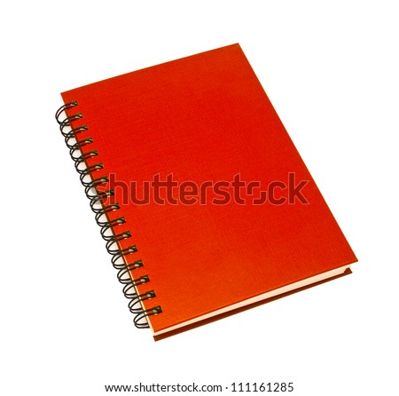 stack of ring binder book or red notebook isolated on white background