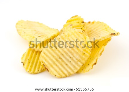 Stack of rippled potato chips isolated on white background