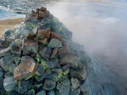 Stack of rocks on volcanic landscape, Hverir Geothermal Area, Skutustaoahreppur, Northeastern Region, Iceland