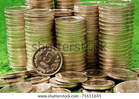 Stack of rupee coins-Money - stock photo