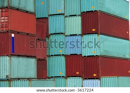 Stack of Sea Container in the port of Hamburg. It is the central hub for trade with Eastern and Northern Europe.