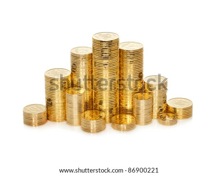 Stack of shiny new golden ukrainian coins