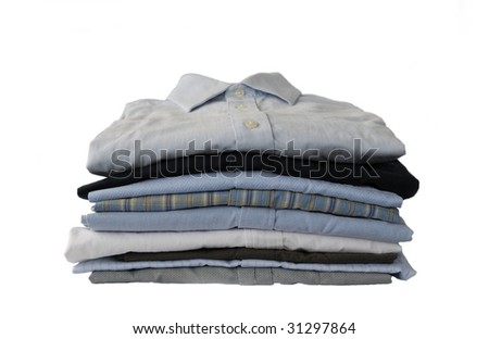 Stack of Shirts, Isolated over white - stock photo