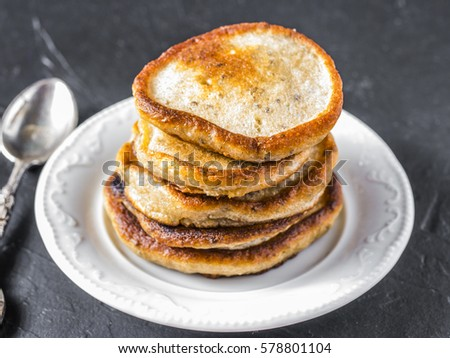 stack of small pancakes with...