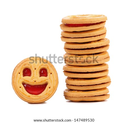 Stack of smile biscuits.