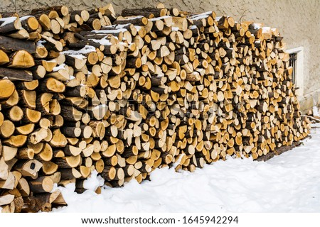 Stack of Split Logs for Domestic Use Heating in Winter