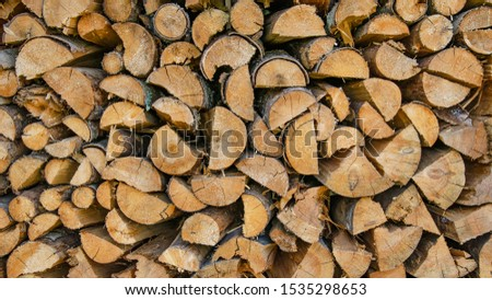 stack of split wood tree trunk to heat in the winter - background texture