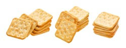 Stack of square crackers isolated on white background. Dry cracker cookies isolated with clipping path