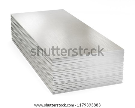 Stack of steel sheets, warehouse steel plates. Isolated on white background, clipping path included. 3d illustration.