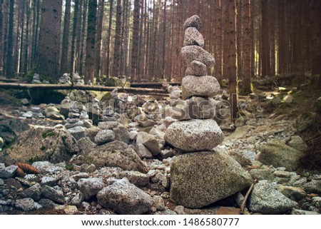Stack of stones. Rocks in equilibrium in temperate coniferous forest