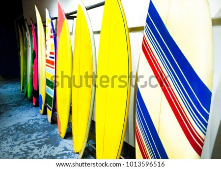 Stack of surfboards - colored  #1013596516