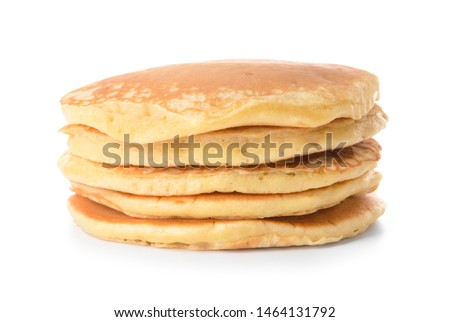 Photo of  Stack of tasty pancakes on white background