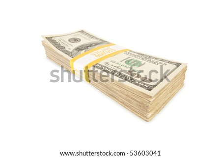 Stack of Ten Thousand Dollar Pile of One Hundred Dollar Bills Isolated on a White Background.
