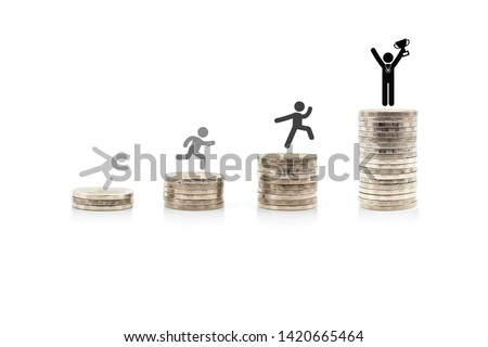 Stack of Thailand coins money and Person basic body language pictogram on a white background #1420665464