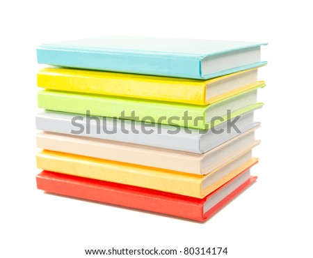 Stack of the books isolated on white