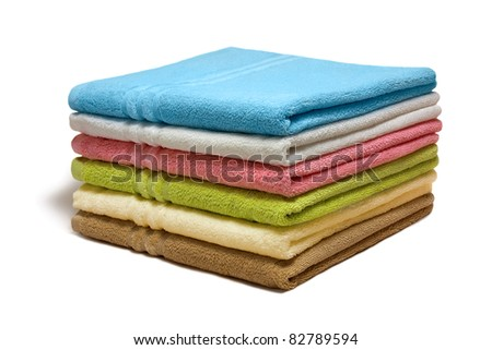 Stack of the multicolored towels