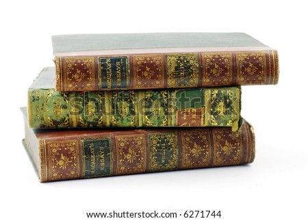 stack of three antiquarian books