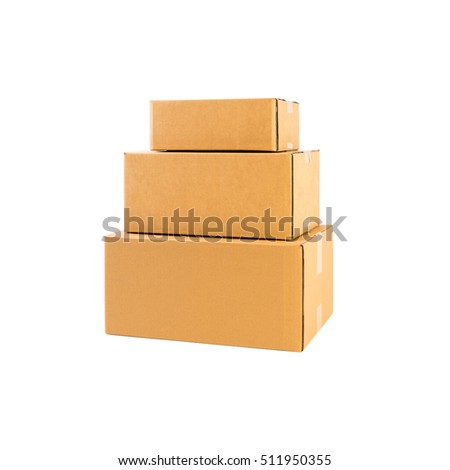 Stack of three brown cardboard boxes isolated on white background
