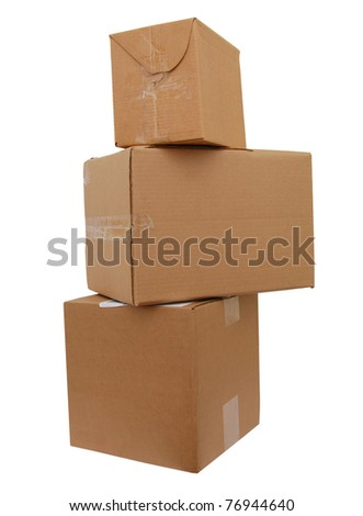 Stack of three cardboard boxes againt white background