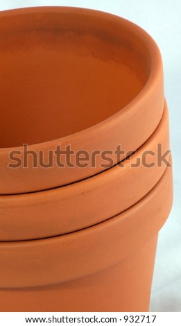 Stack of Three Clay Flower Pots
