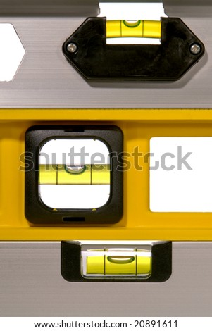 Stack of three construction bubble spirit level