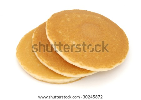 Stack of three Scotch pancakes isolated on a white background