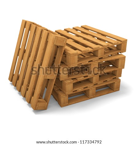 Stack of three wooden pallets. One pallet near. Isolated on white.