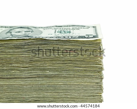 Stack of United States currency background - five dollar bills