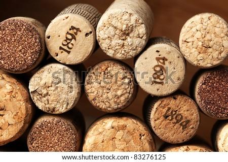 Stack of used vintage wine corks.