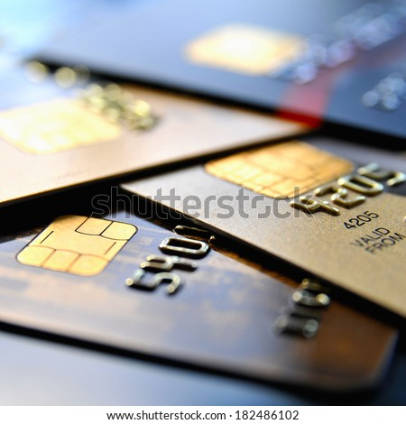 Stack of various credit cards