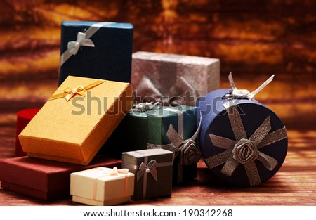 Stack of various gift boxes