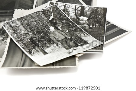 stack of vintage photos of young girl