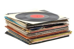 Stack of vinyl records on a white background